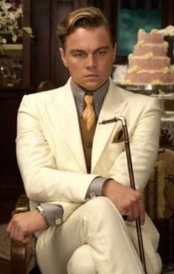 Leonardo DiCaprio as a great story characters in The Great Gatsby